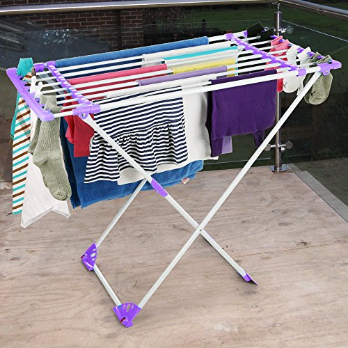 Indoor/Outdoor Expandable Clothes Dryer Stand with Clamps Ma