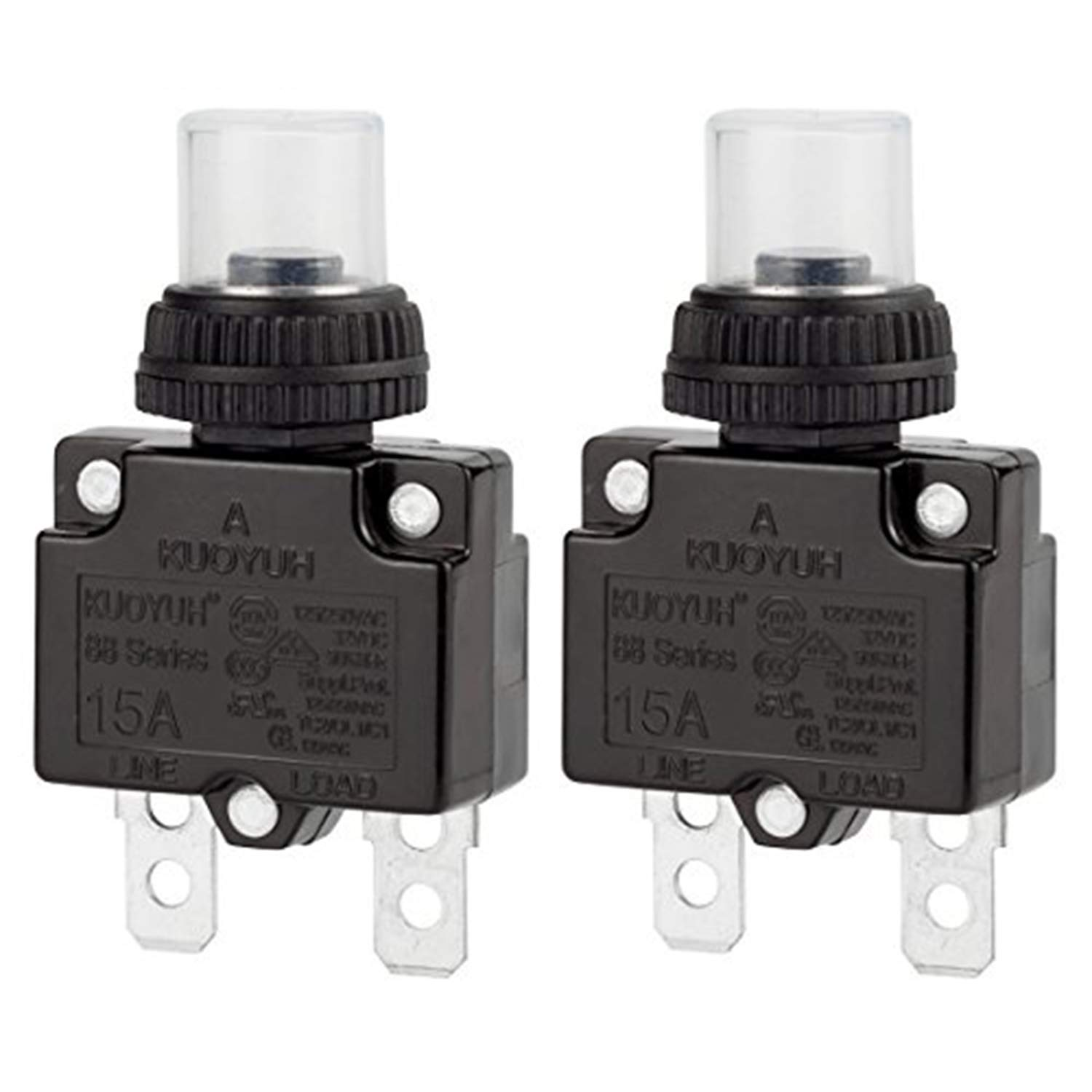 Circuit Breaker, DIYhz Thermal Overload Circuit Breaker 88 Series 15A 32V DC 125/250VAC 50/60Hz Push Button Circuit Breaker Reset Boot Switch and Waterproof Button Transparent Cap 2 Pcs