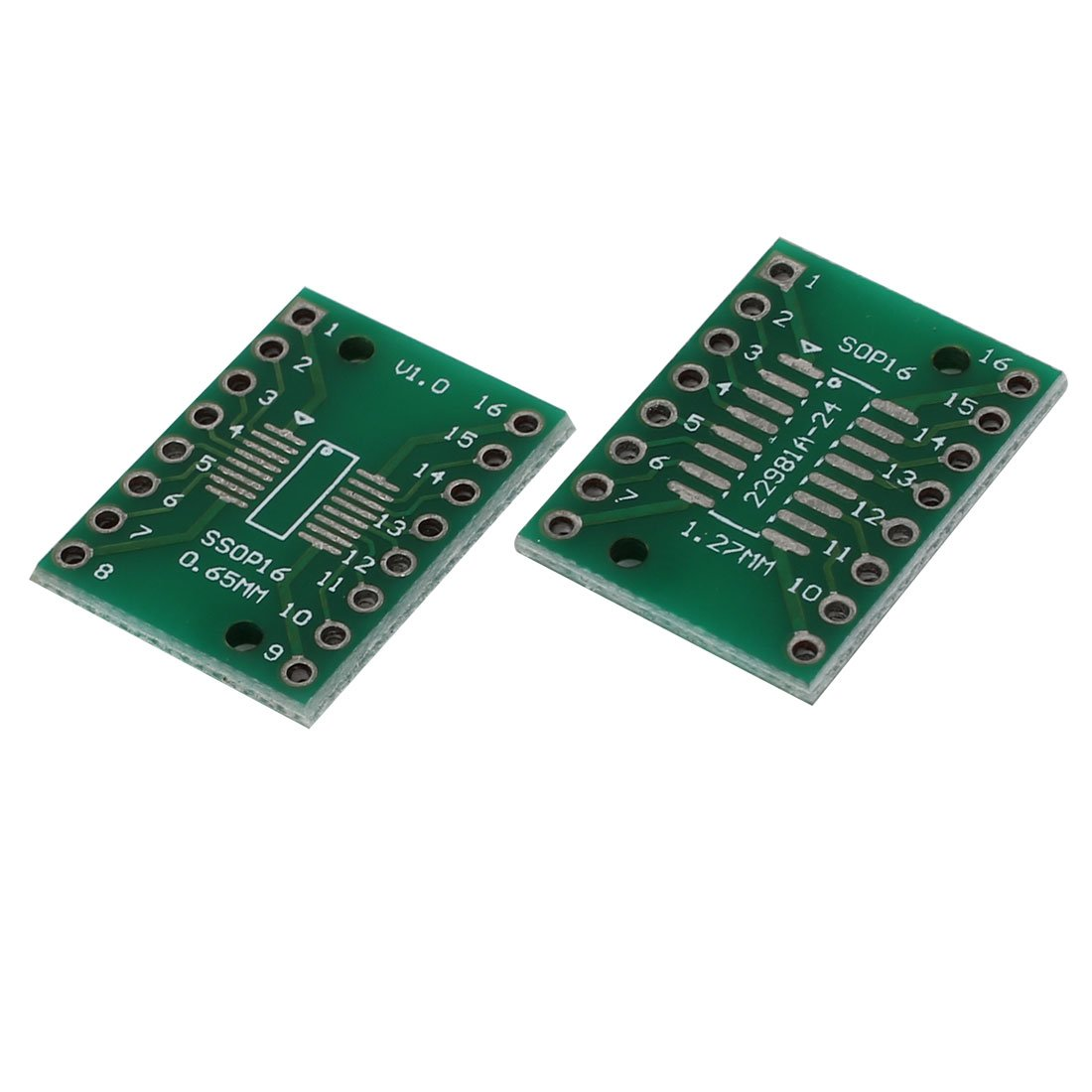 uxcell 2 Pcs 21mmx16mm SSOP16 16P 1.27mm to 0.65mm DIP PCB Adapter Converter