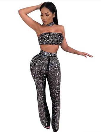 dfe8c7ddd251e Amazon.com: Women Sexy Sequin Rhinestone 2 Piece Outfits Off ...