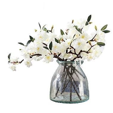 JAROWN 5 Pcs Cherry Blossom Artificial Flowers Branches Silk Sakura Flower Petals for Home Crafts Decoration(White)