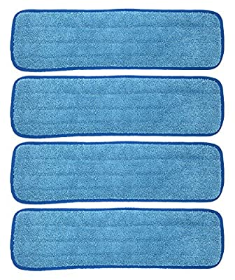 Xanitize Microfiber Replacement Mop Pad, Wet & Dry Home & Commercial Cleaning Refills - Fits 18 and 20 (4-pack)