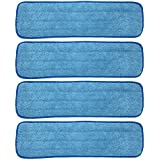 Xanitize 18 inch Microfiber Replacement Mop Pad, Wet & Dry Home & Commercial Cleaning Refills (4-Pack)
