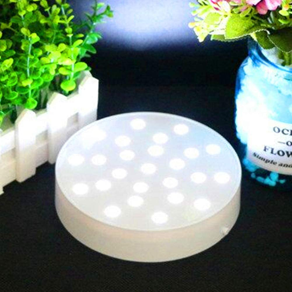 LACGO Acrylic 6'' Round LED Vase Base Plate Light with 25 Bright White LEDs, USB Charging Port or Battery-powed, for Home, Display Stand Table Centerpiece Decor(White Case)(Pack of 1)
