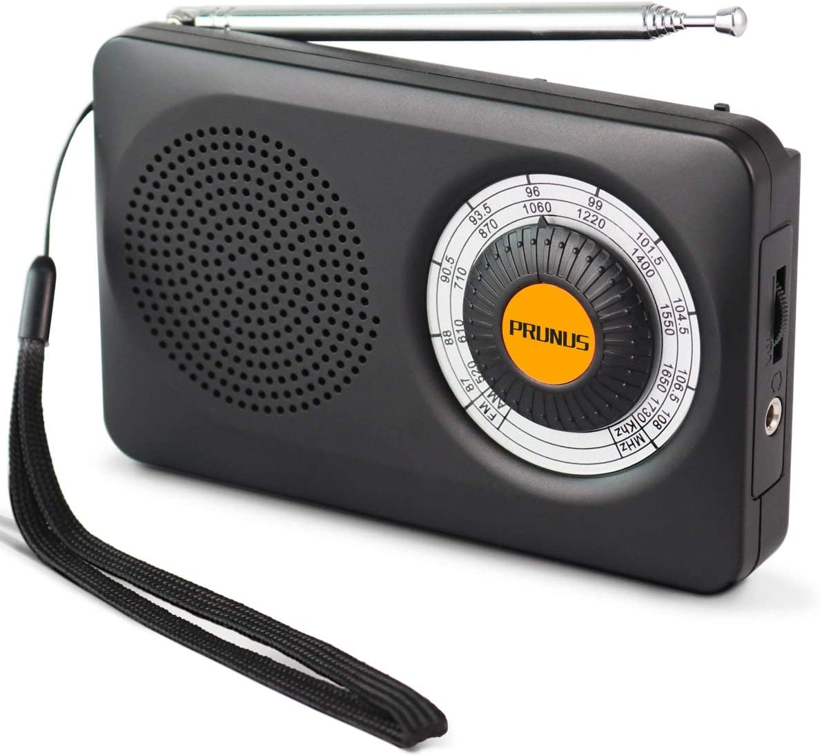 PRUNUS J-115 Pequeña Radio Portátil, Am FM Radio Analógica de Bolsillo, Radio de Transistor a Batería con Auriculares, Antena Giratoria de 360 °, 2 ...