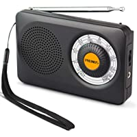 PRUNUS J-115 FM/AM(MW) Radio Portable à Transistor DSP, Alimentée par 2 Piles AA, [Paire d'écouteurs gratuits Incluse], avec Antenne Rotative à 360°et Sélecteur de Fréquence Anti-dérapant de 270°