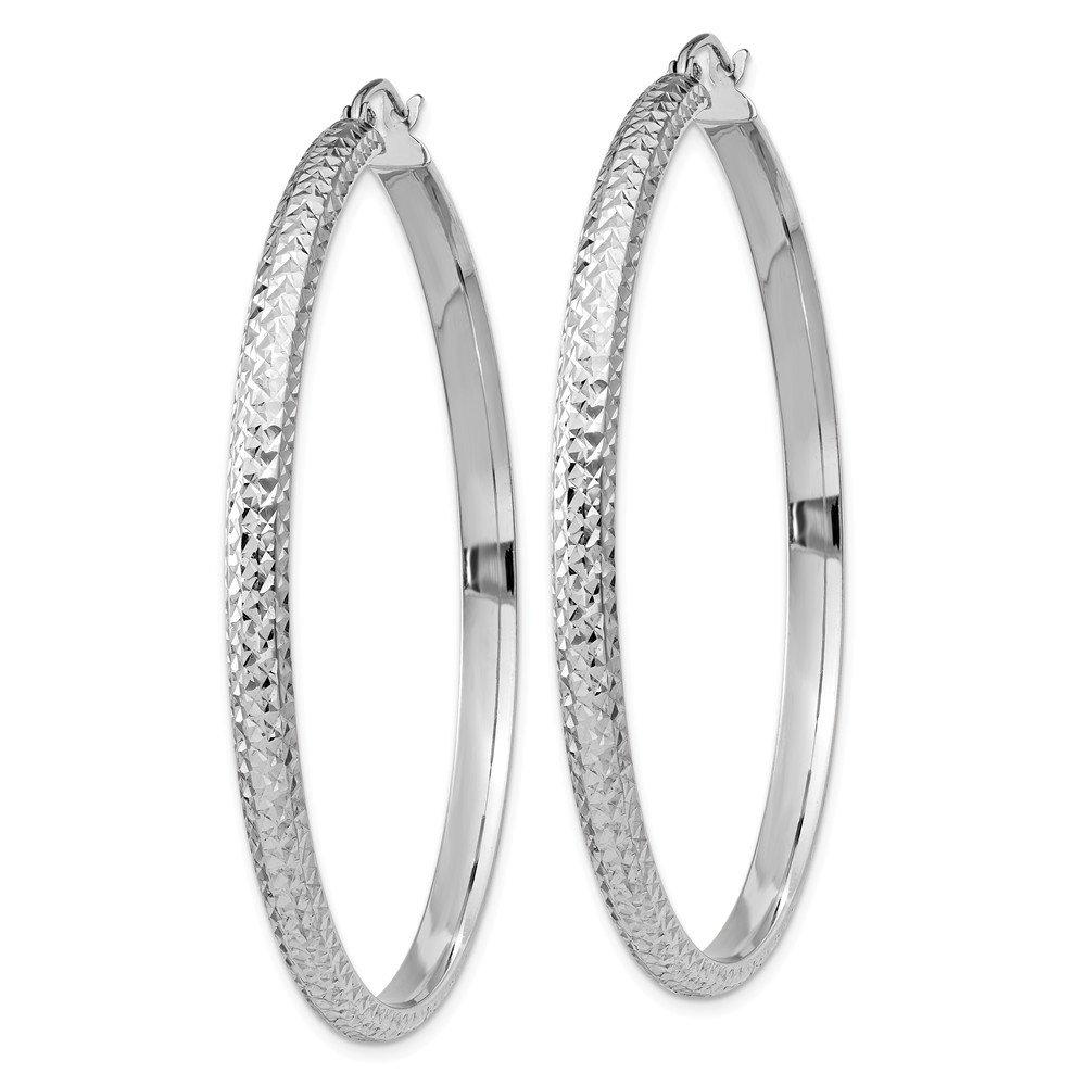 Mia Diamonds 14K White Gold Diamond-cut 3.5x52mm Hollow Hoop Earrings