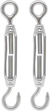 Saim Turnbuckles M6 Stainless Steel 304 Hook /& Eye Turnbuckle Wire Rope Tension for Outdoor/Railing/Project Pack of 6