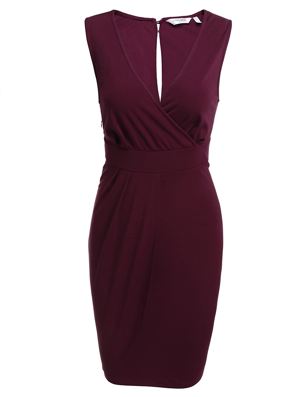 Parabler Damen V-Ausschnitt Wickelkleid Bleistiftkleid Etuikleid Ärmellos Knielang Abendkleid Business Kleid