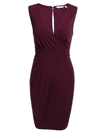 7bc61bde90258c Parabler Damen V-Ausschnitt Wickelkleid Bleistiftkleid Etuikleid Ärmellos  Knielang Abendkleid Business Kleid