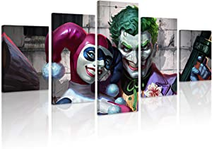 FUNHUA Joker and Harley Quinn Poster Framed Wall Art HD Print 5 Piece USA DC Comic Canvas Painting Pictures Artwork for Living Room Home Decor