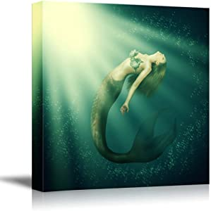 """wall26 Fantasy Beautiful Woman Mermaid with Fish Tail and Long Developing Hair Swimming in The Sea Under Water - Canvas Art Wall Art - 16"""" x 16"""""""