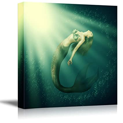 Wall26 - Canvas Prints Wall Art - Fantasy Beautiful Woman Mermaid with Fish  Tail and Long Developing Hair Swimming in the Sea under Water  eb3ff9094