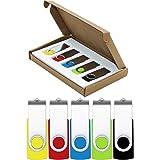 USB Flash Drive 8GB 5 Pack Thumb Drive USB 2.0 Jump Drive Bulk Flash Drive Pen Drive Zip Drives Memory Sticks Swivel Design 5 Colors Yellow/Red/Blue/Green/Black (5 Pcs 8GB Multi-Color)