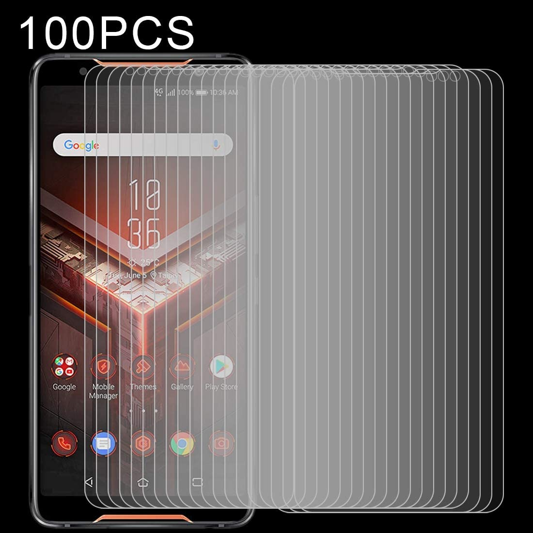 ZYS Screen Protector 100 PCS 0.26mm 9H 2.5D Explosion-Proof Tempered Glass Film for Asus ROG Phone
