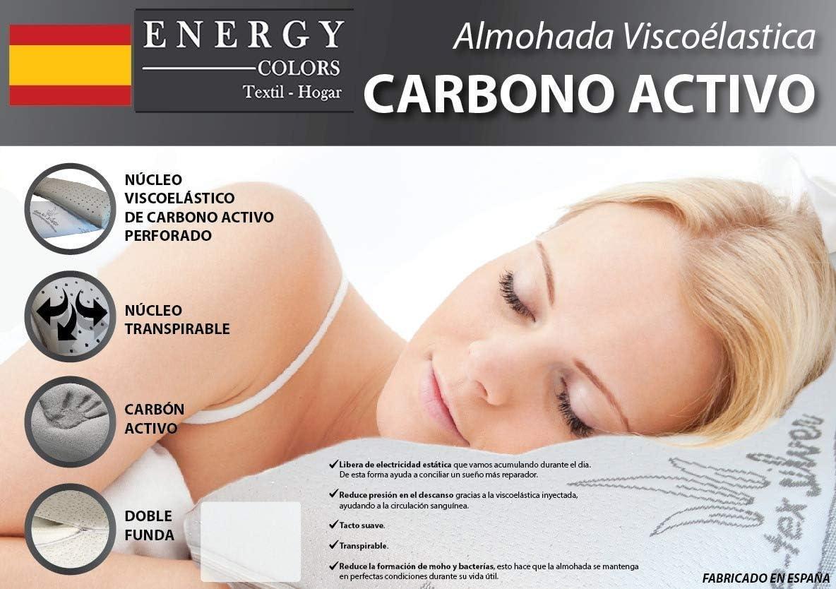 Almohada VISCO-ELÁSTICA Carbono Activo - Tex-Silver - Fabricado España (Viaje 45)