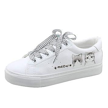 SHI Zapatillas de Deporte Bajas Planas de Moda para Mujeres Zapatillas de Deporte Suaves Lindas de Gato Blancas con Cordones Zapatos Casuales de Skateboard: ...
