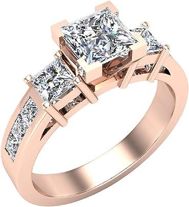 anillo de diamantes princesa con diamante de 1.81 quilates