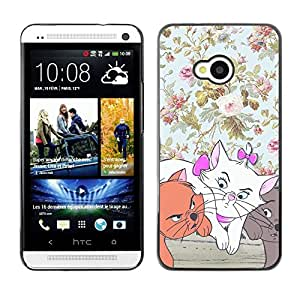 FlareStar Colour Printing Kittens Floral Wallpaper Cartoon Cat cáscara Funda Case Caso de plástico para HTC One M7