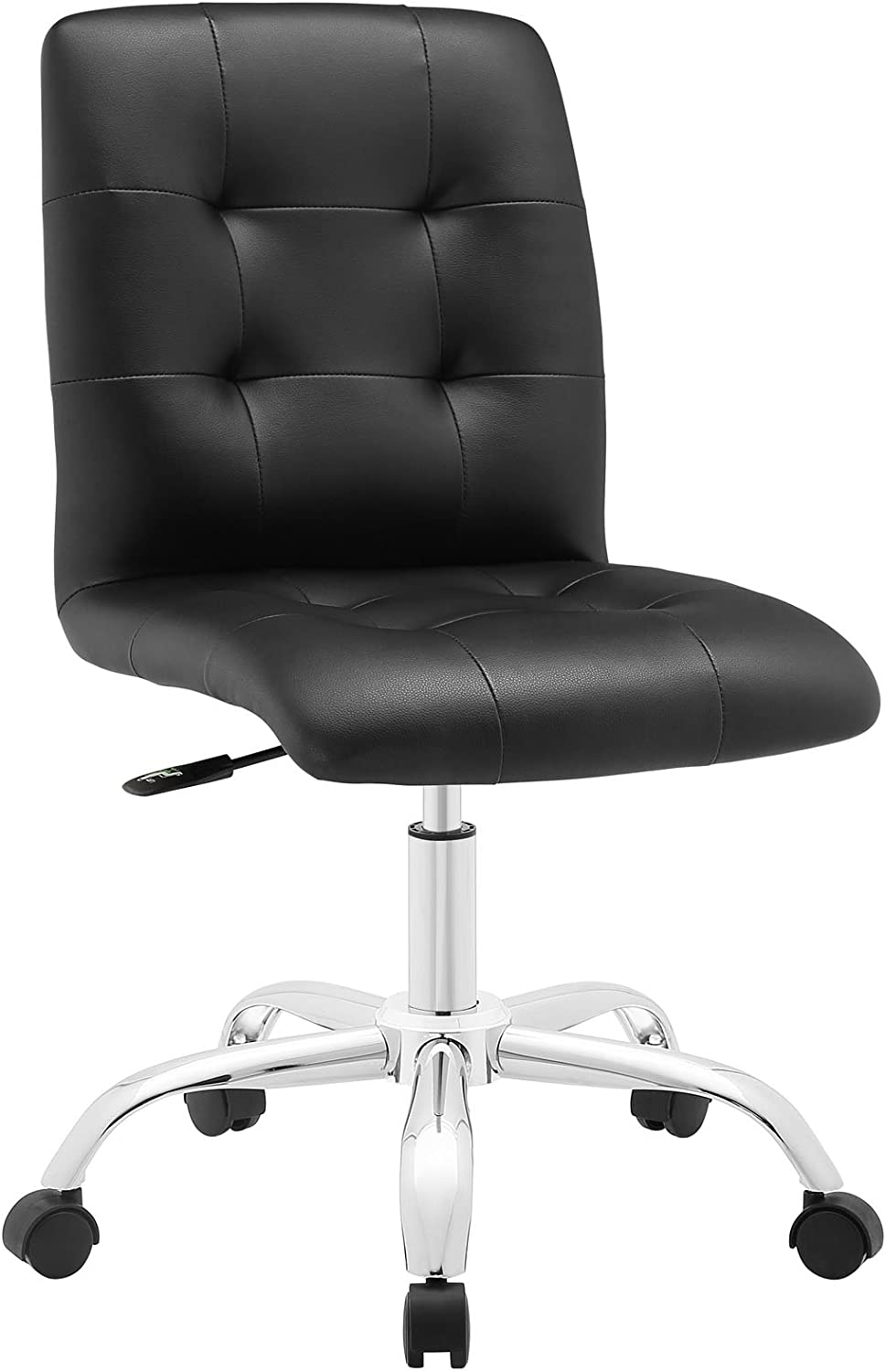 Modway Prim Ribbed Armless Mid Back Swivel Conference Office Chair In Black