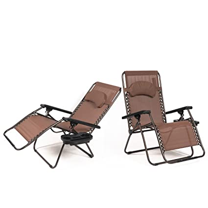 Stupendous Belleze Xl Oversized Zero Gravity Chairs Case Of 2 Foldable Recliner Lounge Padded With Pillow Drink Cup Holder Brown Short Links Chair Design For Home Short Linksinfo