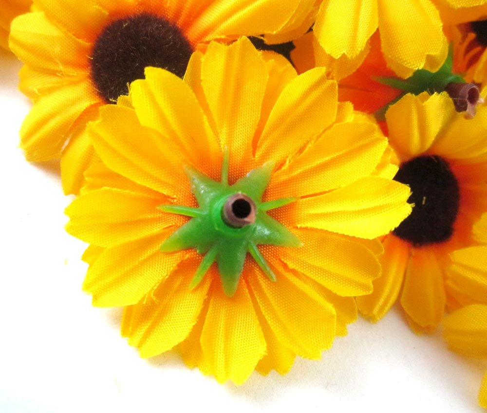 amazon com 100 silk yellow sunflower gerbera daisy flower heads