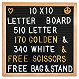 Letter Board - Felt Letter Board Changeable 10x10 Inches with 510 (340 WHITE & 170 GOLDEN) Letters, Numbers & Symbols, Wooden Message Board FRAME With Wooden STAND, FREE Canvas BAG & FREE Scissors, By TDot Brands on Happy Canada Day