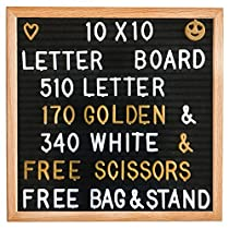 Letter Board - Felt Letter Board Changeable 10x10 Inches with 510 (340 WHITE & 170 GOLDEN) Letters, Numbers & Symbols, Wooden Message Board FRAME With Wooden STAND, FREE Canvas BAG & FREE Scissors, By TDotBrands