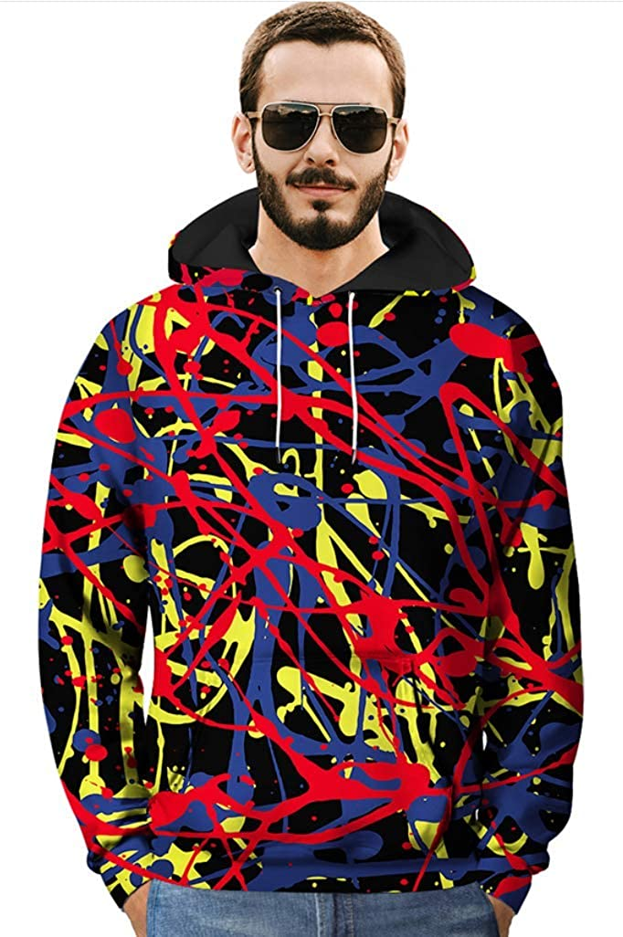 Jackdaine Mens Fashion Creative Graffiti 3D Printing Hooded Sweater XL Top