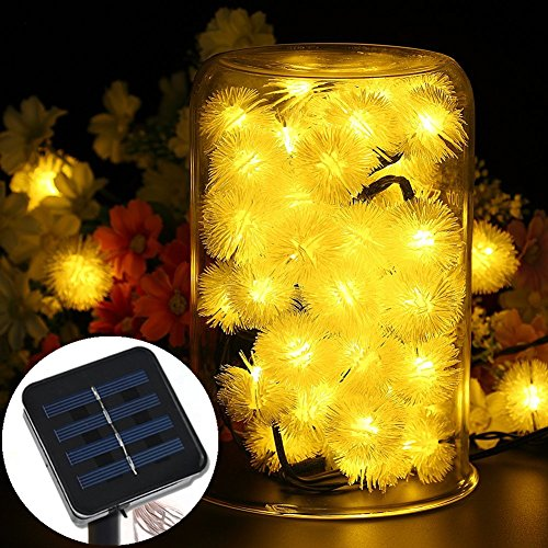 Led16ft 20 Led Solar Outdoor String Fairy Lights Dandelion Ball Solar Power Waterproof String Lights For Outside Garden Camping Patio Party Christmas  Warm White