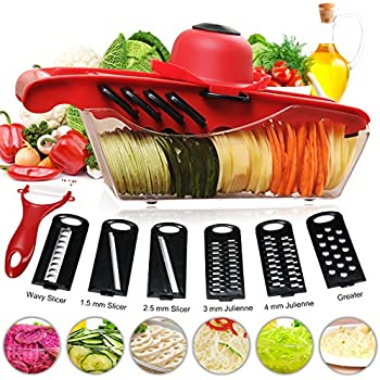 Mandoline Vegetable Slicer Cutter Chopper of Godmorn - 6 Interchangeable Blades with Peeler, Hand Protector,Storage Container - Cutter for Potato,Tomato, Onion, Cucumber,Cheese etc