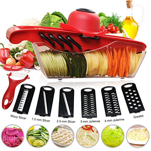 Slicer Cutter of Godmorn - 6 Interchangeable Blades with Peeler, Hand Protector,Storage Container - Cutter for Potato,Tomato, Onion, Cucumber,Cheese etc (Wavy Slicer)