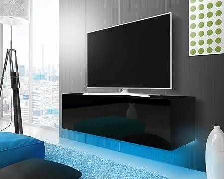 LANA Floating TV Wall Unit/Entertainment Unit (140 Cm, Matt Black/Gloss