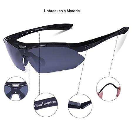 48ee4ef6ea Gafas de Sol Deportivas Polarizadas,Carfia TR90 UV400 Unisex Gafas de Sol  Deportivas Polarizadas 5 Lentes de Cambios Incluido para Deporte y Aire  Libre ...