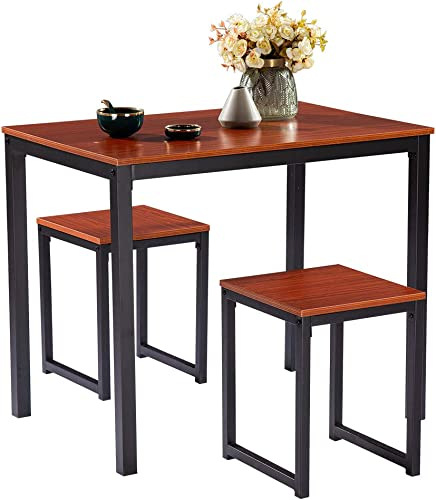 Henf 3 Piece Dining Room Table Set Counter Height Table with 2 Bar Chairs Modern Pub Table Stool Set for Kitchen Restaurant Cherry