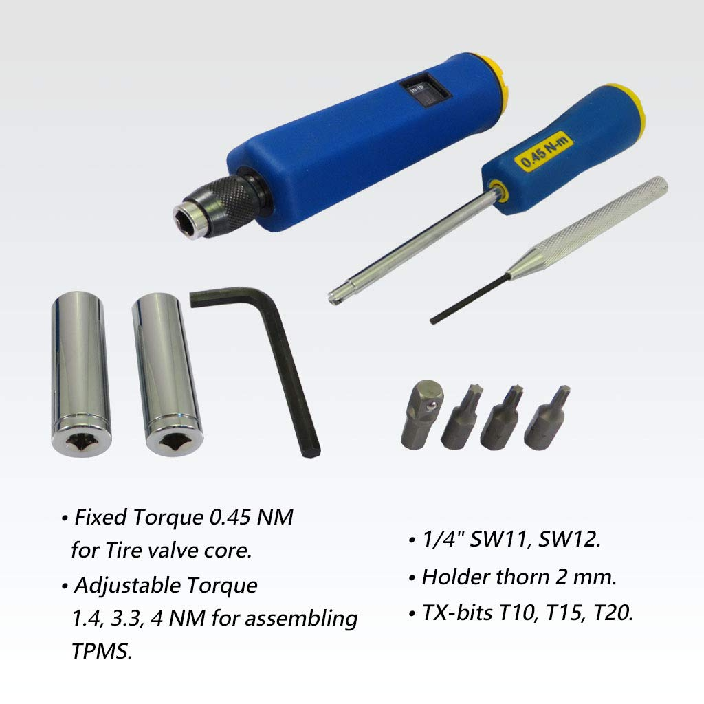"""accessories mounting valves TPMS Case screwdriver torque 1-8Nm 1//4/"""""""