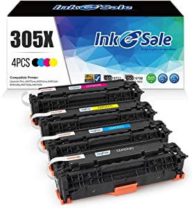 INK E-SALE Remanufactured Toner Cartridge Replacement for HP 305X CE410X 305A CE410A for use with HP Laserjet Pro 400 Color M451dn M451nw M451dw MFP M475dw MFP M475dn Pro 300 MFP M375nw Printer 4-Pack