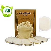 Healthtastic Neuartige Waschbare Abschminkpads 10er-SET Schmierfrei & Saugstark aus Bambus INKL. Waschnetz aus Baumwolle - Wiederverwendbare Bio Wattepads & Abschminktücher zum Aufhängen