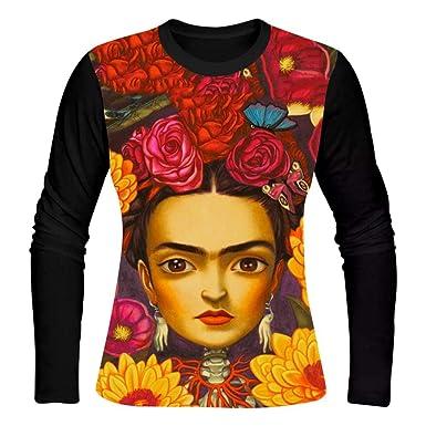 0d55d37ff Amazon.com: Womens T-Shirt Frida Kahlo 3D Print Long Sleeve Top Tees ...