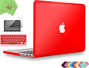 UESWILL 3 in 1 Matte Hard Case Compatible with MacBook Pro (Retina, 13 inch, Late 2012/2013/2014/Early 2015), Model A1425 / A1502, NO CD-ROM + Keyboard Cover and Screen Protector, Red