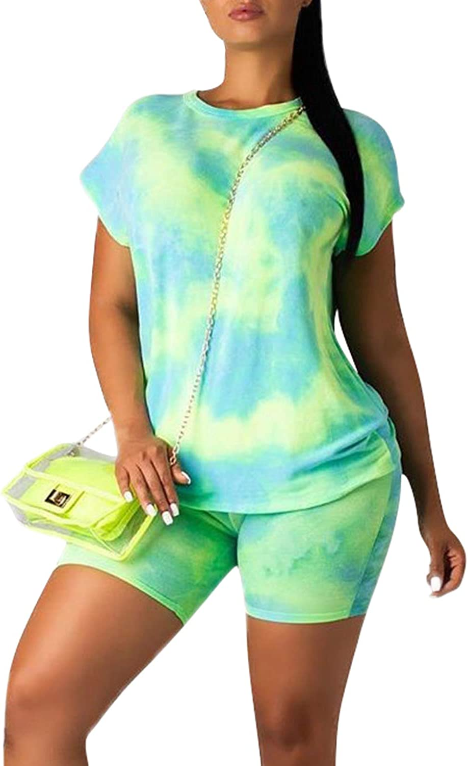 LOV/ANNY 2 Piece Outfits Casual Shorts Set Tie Dye Short Sleeve T-Shirts Tracksuit