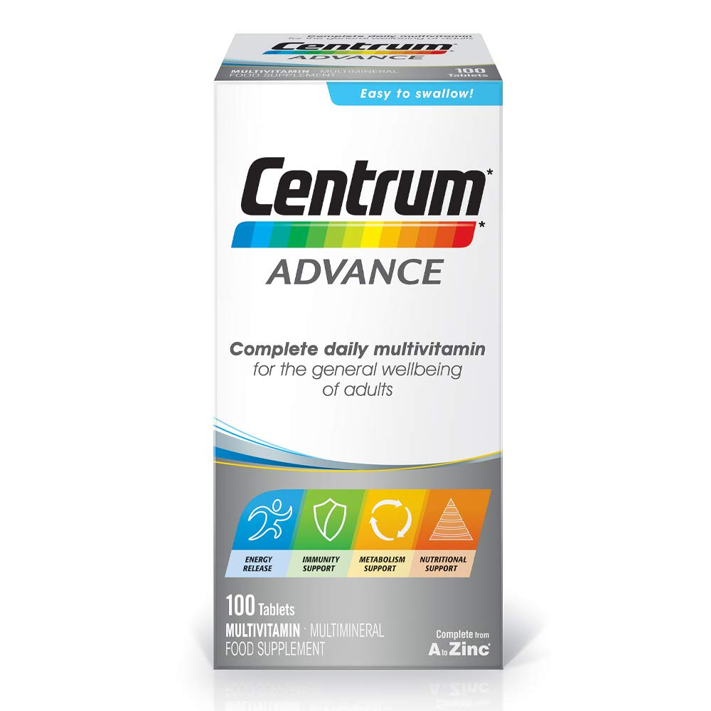 Centrum Advance Multivitamin & Mineral Tablets, 24 Essential Nutrients Including Vitamin D, Complete Multivitamin Tablets, 100 Tablets