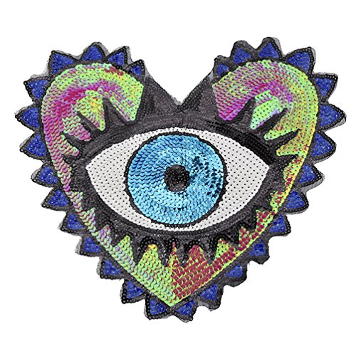 Lychee Large Sequin Heart Evil Eyes Patch Embroidered Sewing On Applique DIY 1pc