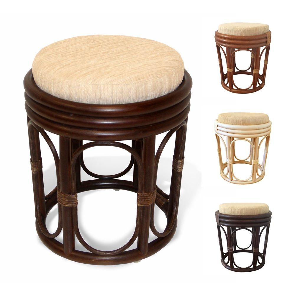 Amazon com pier handmade rattan wicker vanity bedroom stool fully assembled dark brown kitchen dining