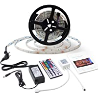 LED Light Strip Waterproof 5 Meters 150LEDs 5050SMD RGB LED Strip Full Kit with Remote Control and Power Supply