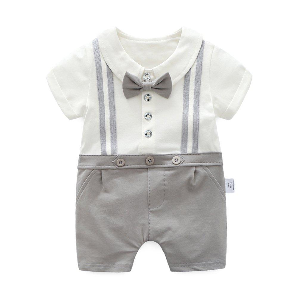 大人気新作 ding-dong グレー Baby Boy夏コットン紳士ボウタイロンパース ding-dong B07CJC2GS7 12-18 グレー 12-18 Months 12-18 Months|グレー, G-Select:4a543ff2 --- arianechie.dominiotemporario.com