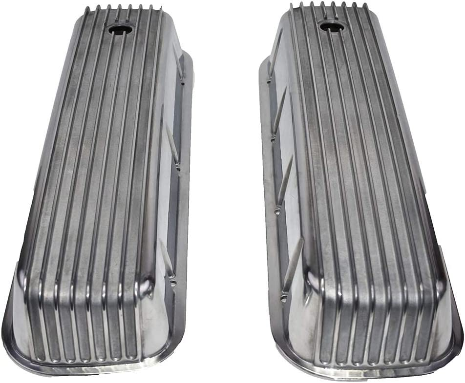 A-Team Performance Tall Finned Polished Aluminum Valve Covers Compatible with Chevrolet BBC Big Block Chevy 396 427 454