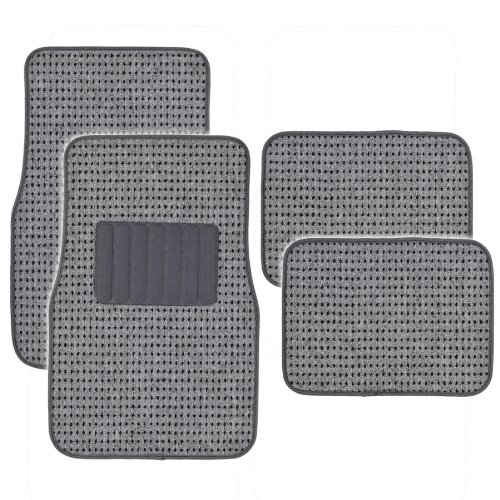 BDK MT302GR Premium Thick Plush Carpet Car Van SUV & Truck-Heavy Duty Woven Berber Style Floor Mat-4 Piece ()