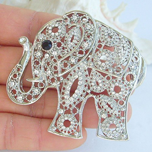 Sindary Unique Animal 2.17'' Silver-Tone Clear Rhinestone Crystal Elephant Brooch Pin Pendant BZ5102 by Animal Brooch-Sindary Jewelry (Image #1)