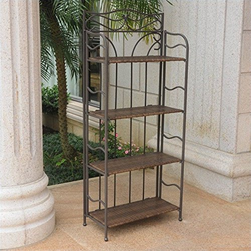 International Caravan Valencia 4-Tier Wide Resin Wicker Plant Shelf